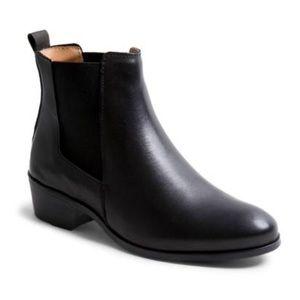 Steve Madden Dover Black Leather Ankle Boots